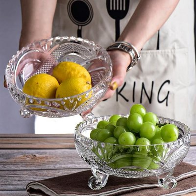 無鉛玻璃圓點果盤創意現代家用客廳茶幾歐式水果盆水果碗水果盤 交換禮物
