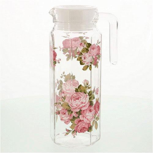 ~~凡爾賽生活精品~~全新日本進口粉紅色玫瑰花造型厚玻璃冷水壺~日本製