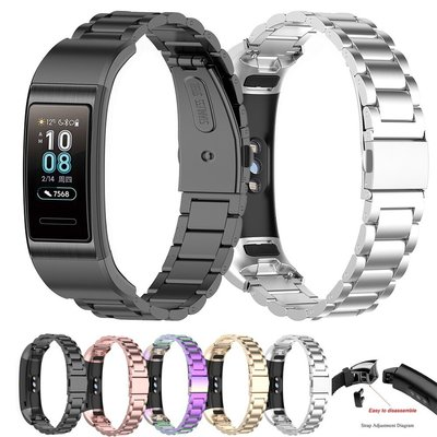 適用於 Huawei Band 4 Pro Ter-B29S / Band 3 Pro 智能手鍊錶帶不銹鋼錶帶錶帶腕帶