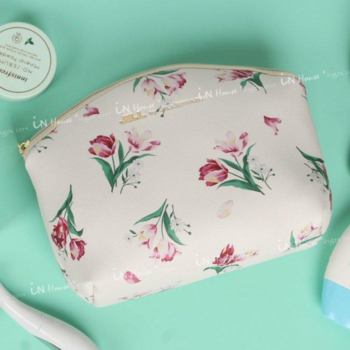 IN House*🇹🇼現貨 日本雜誌附錄 pouch 古典花卉百合 收納包 化妝包 大容量 手拿包 筆袋 錢包