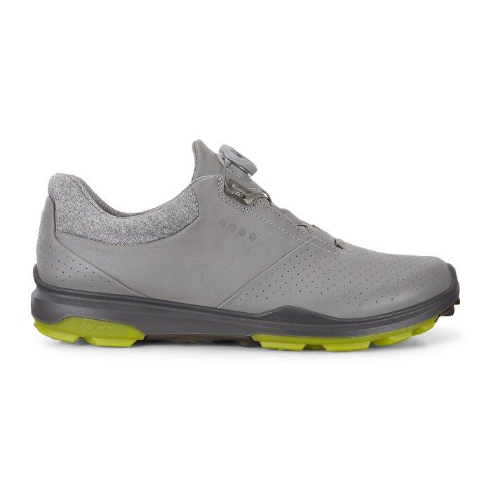 ┌喻蜂高爾夫┐ECCO 男高爾夫球鞋 灰/奇異果綠 紐鎖免綁鞋帶 休閒無釘款 現貨41號