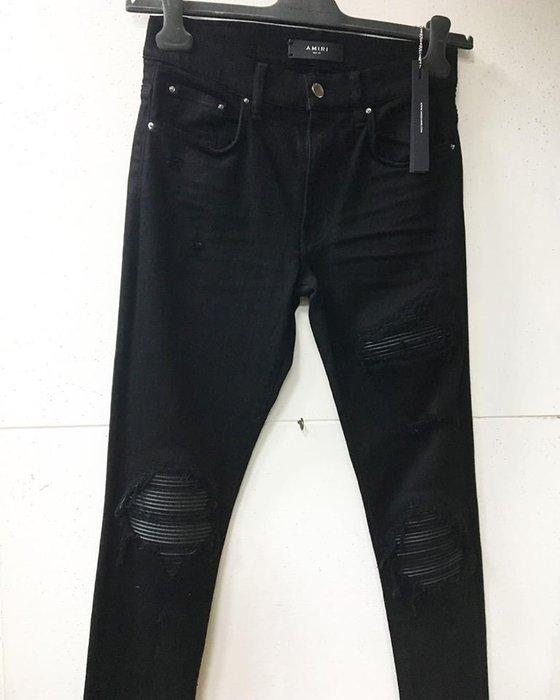[ 羅崴森林 ] AMIRI SS19現貨DESTROYED SKINNY JEANS黑刷破鑲皮革彈力修身牛仔褲