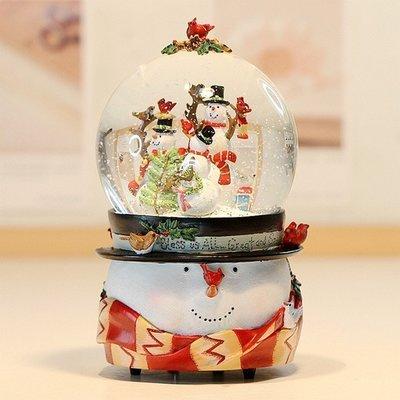 【優上精品】歡樂雪人聖誕音樂盒 聖誕水晶球音樂盒 旋轉木馬 聖誕禮物 100(Z-P3212)