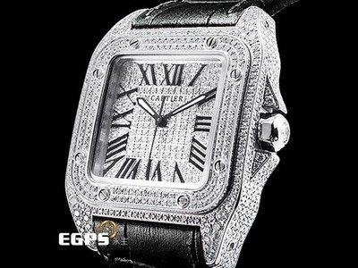 【永生流當品】CARTIER 卡地亞 Santos 100 山度士 經典 精鑲鑽石 滿天星面盤 DCW7352