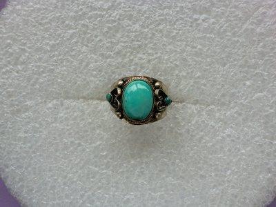 西藏老戒:鑲藍色綠松石4