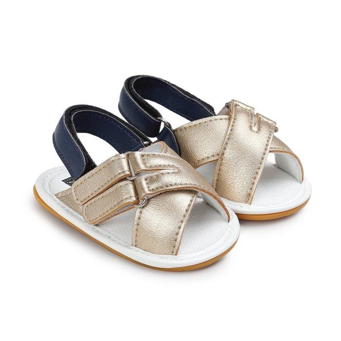 森林寶貝屋~膠底~時尚金色休閒涼鞋~學步鞋~童鞋~寶寶鞋~幼兒鞋~學走鞋~粘扣設計~穿脫方便~彌月送禮~特價135元