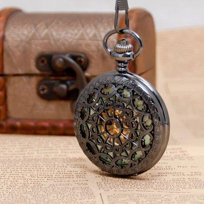 鉛黑蜘蛛網機械懷錶項鏈古董手錶韓版毛衣鏈時尚時裝表學生掛表