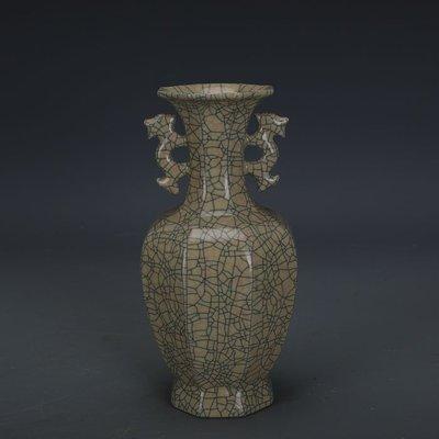 ㊣姥姥的寶藏㊣ 宋代哥窯金絲鐵線支釘雙耳八棱瓶  出土文物古瓷器古玩古董收藏品