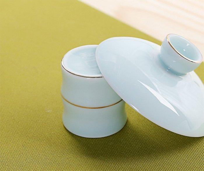 白瓷蓋托藍線手繪線條白瓷蓋置功夫茶具茶道配件陶瓷蓋碗托壺蓋托款3