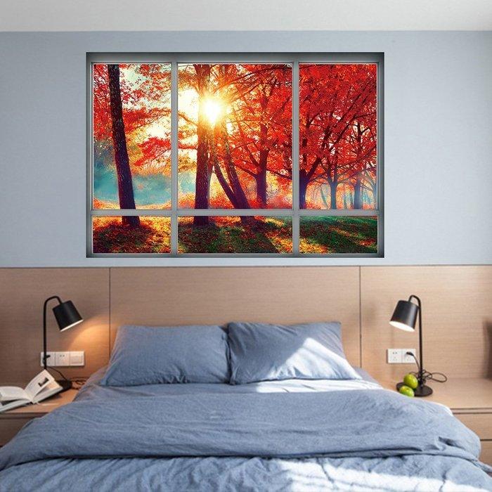 暖暖本舖 秋天的楓葉樹 假窗戶 假牆壁貼 簡易裝潢貼 創意裝飾貼 藝術牆壁貼 書櫃壁貼紙 防水壁貼 裝潢貼紙 DIY壁貼