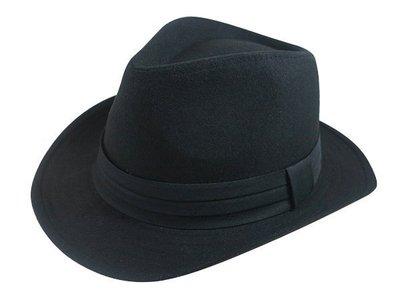 表演團體限定/經典時尚風格☆ 優質造型(寬邊)紳士帽/黑色三折帶爵士帽/禮帽男式英倫紳士帽子-黑色