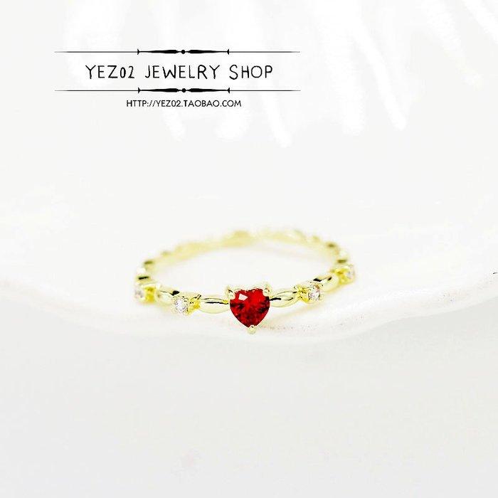 Lissom韓國代購~心形愛心戒指女ins關節戒時尚個性網紅新款小指尾戒簡約單身戒指