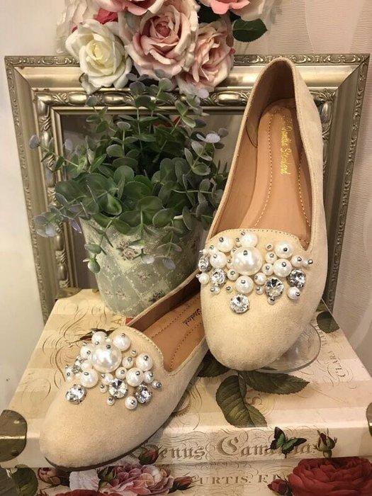 Co媽日本精品代購 現貨 日本限定 好穿 輕量 米色 珍珠 水鑽 裝飾 樂福鞋 平底鞋 鞋