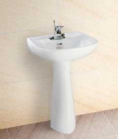 台中興大水電衛浴設備-含安裝舊換新4600台灣摩登LF-351洗臉盆+長瓷腳+台製利發牌龍頭配件