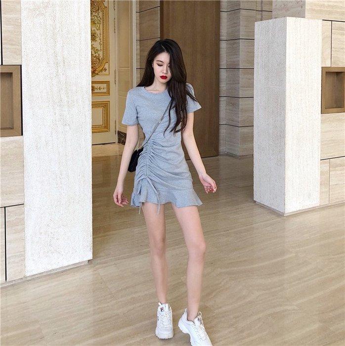 ☆女孩衣著☆女神范收腰顯瘦裙子夏季新款2020氣質包臀魚尾黑色緊身連衣裙女裝(NO.35)