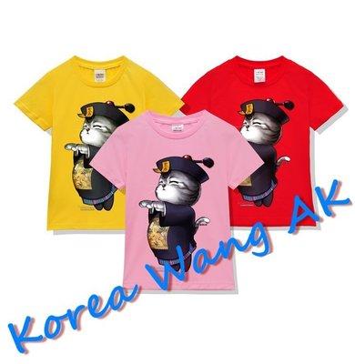Korea Wang AK~台灣原創設計獨家限定版男殭屍喵咪直噴圖兒童青少年版美國100%棉T 六款(預購)【PI67】