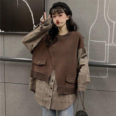 小香風 短袖T恤 時尚穿搭 韓版 設計感不規則拼接寬松套頭假兩件格子長袖衛衣女