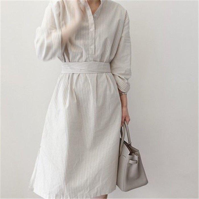 周董的店 Behind you自訂款 顯瘦條紋連衣裙