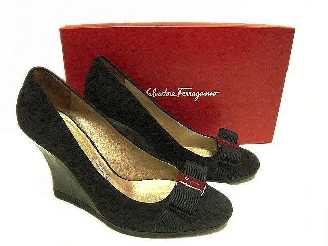 *Beauty*Ferragamo 黑色麂皮LOGO蝴蝶結楔型高跟鞋 6 1/2號  YUKI 原價19800元