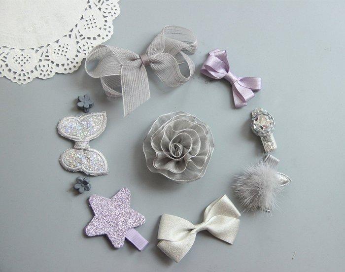 ☆草莓花園☆B45新紫色10件組 女寶寶嬰兒安全包布夾 髮飾髮夾飾品禮盒十件套裝組 禮物 造型周歲照 藝術照