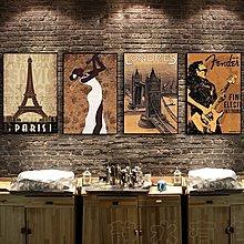 休閒會所裝飾畫懷舊酒吧包間壁畫客廳掛畫西餐廳牆畫音樂廳無框畫(8款可選)