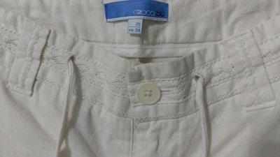 (搬家大出清)專櫃品牌 G2000 blu棉/亞麻混紡米白色繫帶休閒長褲,雙口袋及蕾絲腰部設計,無內裡無彈。尺寸25/ITA34(尺寸偏大約S/M碼agnesb