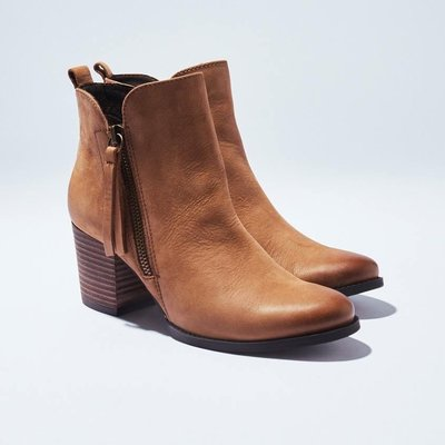 LiLi Jan熱買絕版款極簡刷色拉鍊粗跟短靴真皮MIT鞋(駝7.5/24.5/39)丹妮鞋屋/shoes party
