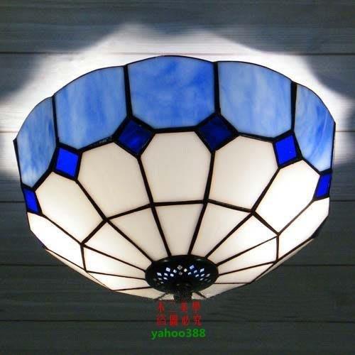 【美學】蒂凡尼燈具地中海藍廚房門廳浴室吸頂燈(小號)MX_1902
