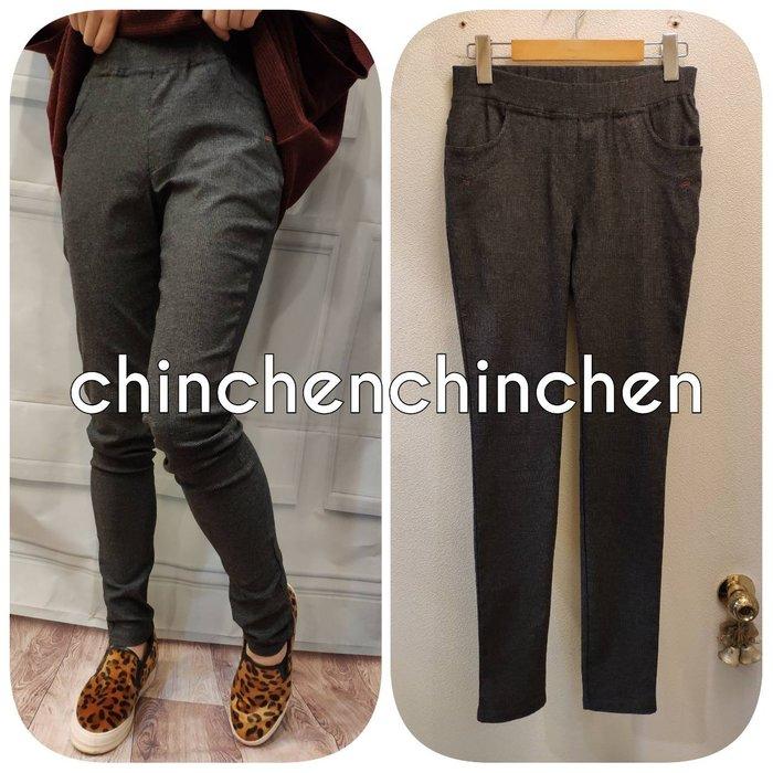 CHiNCHeN 細黑格挺版修身側口袋顯瘦彈性直筒褲~尺寸(M/L/XL/xxL)
