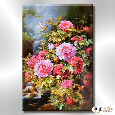 【放畫藝術】富貴牡丹M370 純手繪 油畫 直幅 紅褐 暖色系 文公尺 吉祥 招財 風水 命理 品味 藝品 高寫實