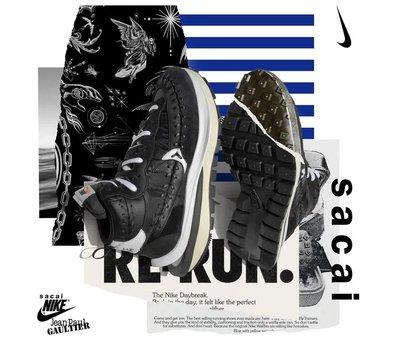 Sacai x Jean Paul Gautier Nike vaporwaffle 黑白 EU42 26.5cm 9月到貨