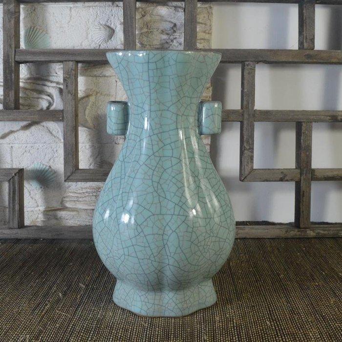 百寶軒 仿古瓷器南宋官窯風格藍釉花口扁瓶花瓶古董古玩擺件收藏品 ZK1514