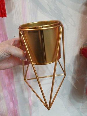 --幾何風鐵桶花器----金色多邊形鐵桶//花器--
