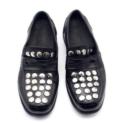 皮鞋 真皮休閒大圓鉚釘平跟鞋-復古水洗做舊時尚男鞋73kv3[獨家進口][米蘭精品]