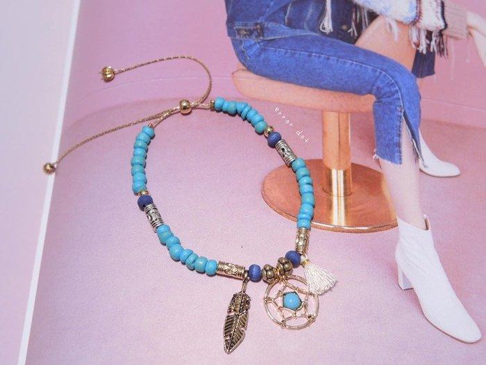 。error dot。正韓 捕夢網土耳其藍串飾手鍊