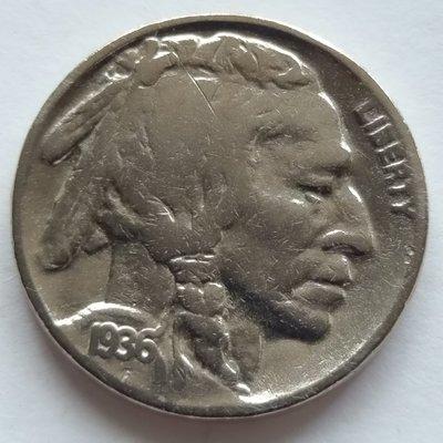 美國   印地安    5分   1936    鎳幣  水牛  野牛     280-248