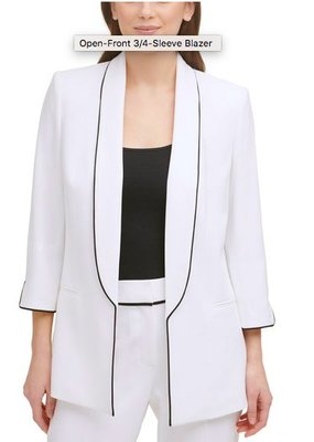 DKNY Piped Shawl-Collar Open-Front Blazer10/4止
