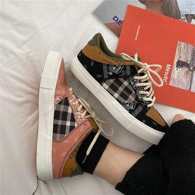 墨染·板鞋女ins潮學生2121新款休閒小眾加絨腰果花帆布鞋子秋冬季百搭