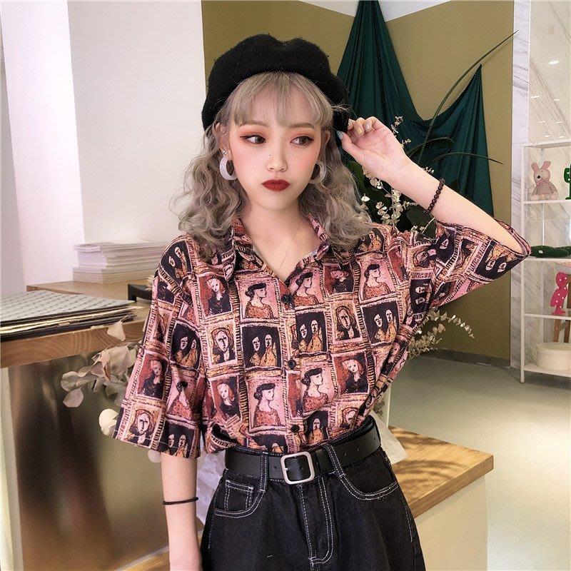 小香風 短袖T恤 時尚穿搭 chic港風印花襯衫女 韓版 寬松短袖設計感小眾襯衣復古上衣