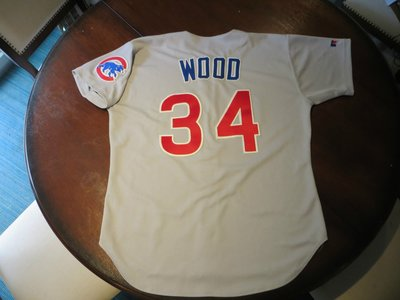 MLB Chicago Cubs 小熊 #34 Wood GAME USED ROAD JERSEY  SIZE:48