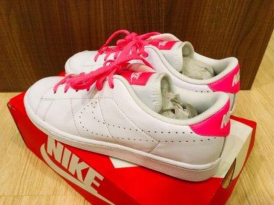 NIKE tennis classic PRM US6(24cm) 全白 桃紅標 網球鞋