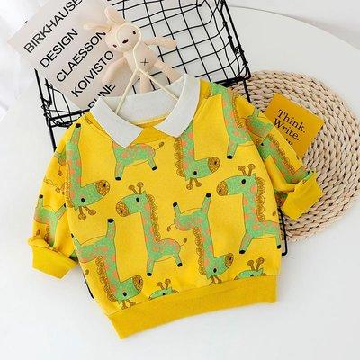 【吉仔媽媽】寶寶春秋長袖翻領衛衣男童洋氣嬰兒童裝0衣服1-3周歲小童春裝上衣C142