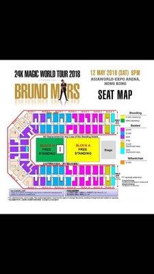 Bruno mars 12/5 block a standing 一張 原價放