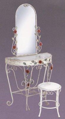 白色鍛鐵鏡台壁鏡 拱形鏡台化妝台組 半圓桌 白色半圓玄關桌 化妝椅 鏡+桌+椅(全套8800)