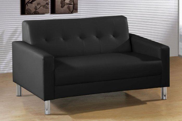 ~ 家傢俱~JF~182~2~約翰黑色雙人沙發~台中4100送到家~雙人座 皮沙發 乳膠透