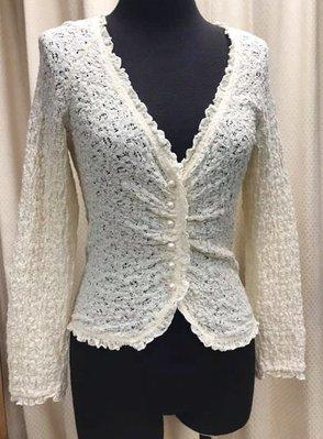 Fragile日本製美美的米色彈性蕾絲綴珍珠釦小外套~1000出清下標區