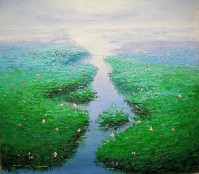 【飲冰室山居閑畫】☆ 純手工油畫—在水一方5