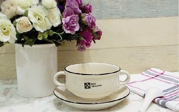 歐式陶瓷双耳 甜品碗 濃湯碗 麥片碗 冰品碗 早餐杯盤套裝組  杯 盤 勺 188元  四