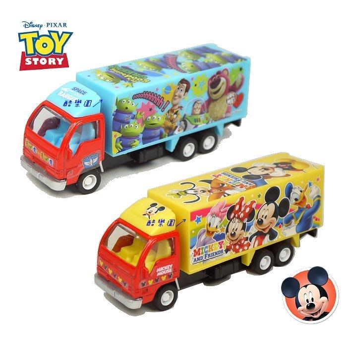 迪士尼 吊卡小汽車 迴力 大貨車 ~ 玩具總動員 米奇家族 米妮 三眼怪 巴斯光年 熊抱哥 胡迪 玩具車 回力車 正版