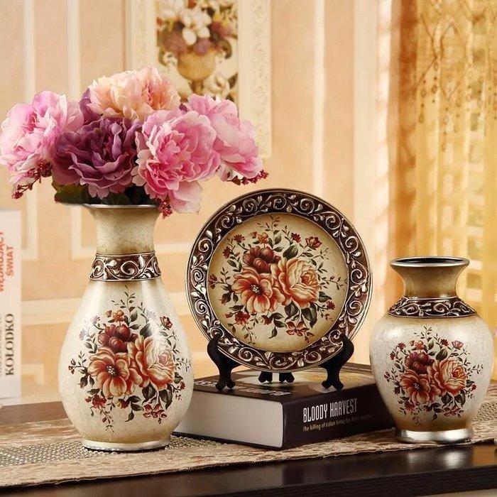 粉紅玫瑰精品屋~歐式復古小花家居擺件三件套~